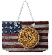 Apple Pie On Folk Art  American Flag Weekender Tote Bag by Garry Gay