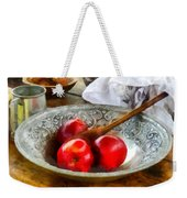 Apples In A Silver Bowl Weekender Tote Bag by Susan Savad
