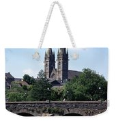 Arch Bridge Across A River With A Weekender Tote Bag