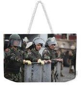 Argentine Marines Dressed In Riot Gear Weekender Tote Bag