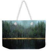Arrow-straight Evergreens Are Reflected Weekender Tote Bag