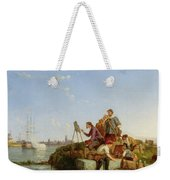 Artist At His Easel And Shipping Beyond Weekender Tote Bag