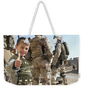As A Father Is Questioned By Marines Weekender Tote Bag