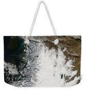 Ash Plume From Chaiten Volcano And Snow Weekender Tote Bag