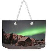 Aurora Borealis Over A Cabin, Northwest Weekender Tote Bag