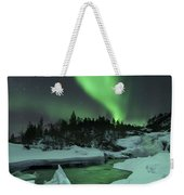 Aurora Borealis Over A Frozen Tennevik Weekender Tote Bag