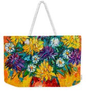 Autumn Flowers Gorgeous Mums - Original Oil Painting Weekender Tote Bag
