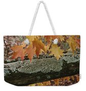 Autumn Leaves And A Lichen-covered Log Weekender Tote Bag