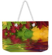 Autumn Leaves In Water With Reflection Weekender Tote Bag