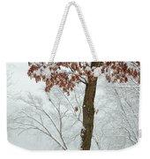 Autumn Leaves In Winter Snow Storm Weekender Tote Bag
