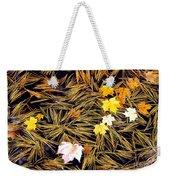 Autumn Leaves On Straw On Water Weekender Tote Bag