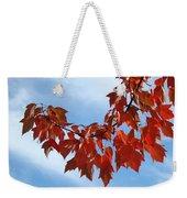 Autumn Leaves Tree Red Orange Art Prints Blue Sky White Clouds Weekender Tote Bag