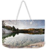 Autumn Nature Lake Rocks And Trees Panorama Weekender Tote Bag