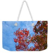 Autumn Trees Art Prints Blue Sky White Clouds Weekender Tote Bag