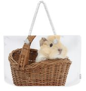 Baby Guinea Pig In A Wicker Basket Weekender Tote Bag