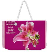 Baby Shower Invitation - Pink Stargazer Lily Weekender Tote Bag