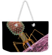 Bacteriophage T4 Injecting Weekender Tote Bag by Russell Kightley