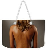 Bare Back Of A Suntanned Woman In A Straw Hat Weekender Tote Bag