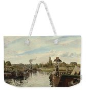 Barge On The Seine At Bougival Weekender Tote Bag by Camille Pissarro