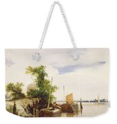 Barges On A River Weekender Tote Bag by Richard Parkes Bonington