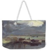Barges On The Stour With Dedham Church In The Distance Weekender Tote Bag