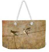 Barn Swallows On Barbed Wire Fence Weekender Tote Bag