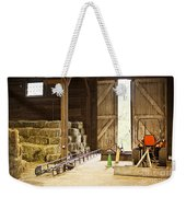 Barn With Hay Bales And Farm Equipment Weekender Tote Bag by Elena Elisseeva