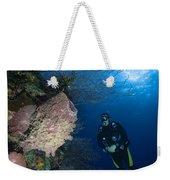 Barrel Sponge And Diver, Belize Weekender Tote Bag