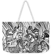 Bartholmew Roberts And Crew Drinking Weekender Tote Bag by Photo Researchers