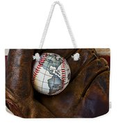 Baseball Mitt With Earth Baseball Weekender Tote Bag by Garry Gay