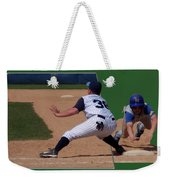 Baseball Pick Off Attempt 02 Weekender Tote Bag by Thomas Woolworth