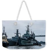 Battleship At Tower Bridge Weekender Tote Bag
