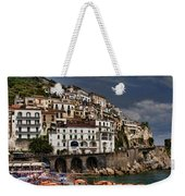 Beach Scene In Amalfi On The Amalfi Coast In Italy Weekender Tote Bag