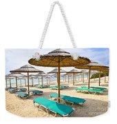 Beach Umbrellas On Sandy Seashore Weekender Tote Bag by Elena Elisseeva