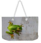 Beautiful American Green Tree Frog On Grunge Background  Weekender Tote Bag
