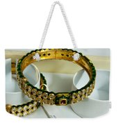 Beautiful Green And Purple Covered Gold Bangles With Semi-precious Stones Inlaid Weekender Tote Bag