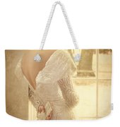 Beautiful Lady In Sequin Gown Looking Out Window Weekender Tote Bag