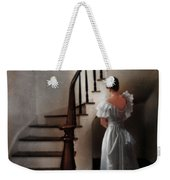 Beautiful Young Woman Standing In Gown By Stairs Weekender Tote Bag