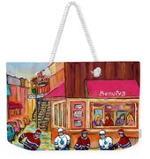 Beauty's Restaurant-montreal Street Scene Painting-hockey Game-hockeyart Weekender Tote Bag