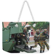 Belgian Infantry Soldiers Exit Weekender Tote Bag