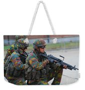 Belgian Infantry Soldiers In Training Weekender Tote Bag by Luc De Jaeger
