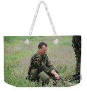 Belgian Paratroopers Red Berets Weekender Tote Bag by Luc De Jaeger