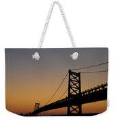 Ben Franklin Bridge Sunrise Weekender Tote Bag