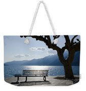 Bench And Tree On An Alpine Lake Weekender Tote Bag