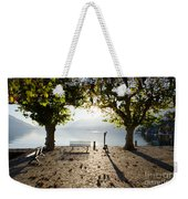 Bench And Trees On The Lake Front Weekender Tote Bag