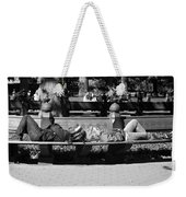 Bench Bums In Black And White Weekender Tote Bag