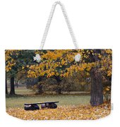 Bench In The Autumn Landscape Weekender Tote Bag