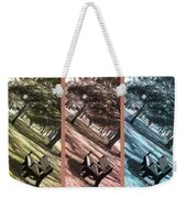 Bench In The Park Triptych  Weekender Tote Bag