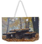 Benches And Table In Autumn Weekender Tote Bag