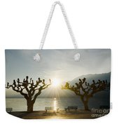 Benches And Trees On The Lakefront Weekender Tote Bag